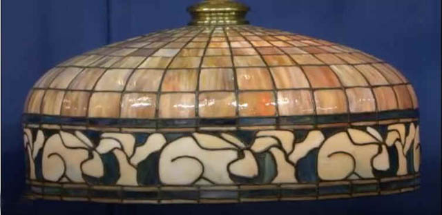 Leaded Chandelier with Rabbit Border, New England Maker