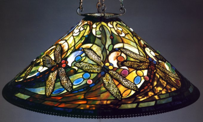 A Fine Tiffany Favrile Glass Swirling Dragonfly Chandelier