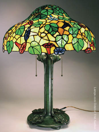 riviere studios floral leaded glass lamp. Black Bedroom Furniture Sets. Home Design Ideas