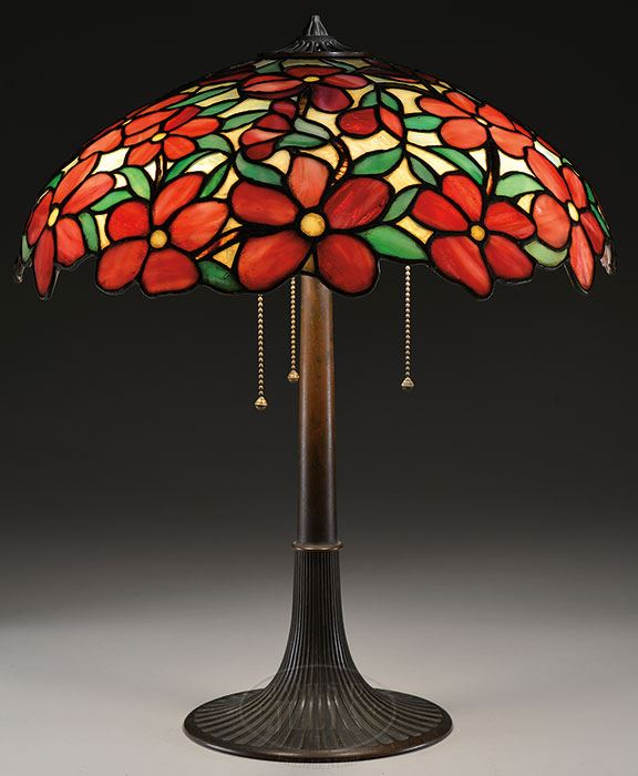 Suess Ornamental Glass Company Red Peony Table Lamp