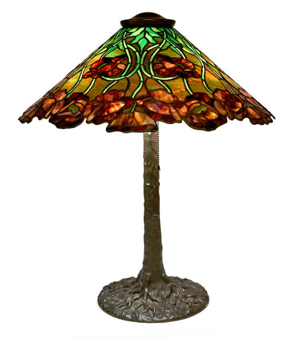 Unique Art glass Poppy Pattern Leaded Lamp